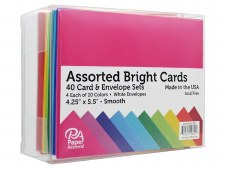 Boxed Card & Envelope Set, 40ct- Smooth Brights