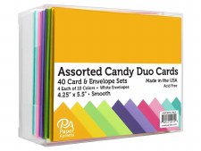 Boxed Card & Envelope Set, 40ct- Smooth Candy Duo