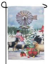 Holiday Garden Flag- Snowman & Farm Friends
