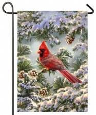 Holiday Garden Flag- Snowy Cardinal