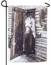 Holiday Garden Flag- Snowy Horse Barn
