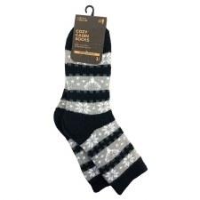 Cozy Cabin Socks- Black/Grey Stripe