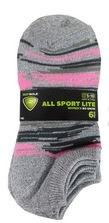 6pk No-Show Socks- All Sport, English Stripe