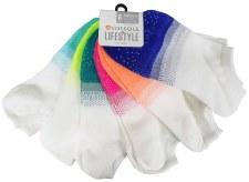 6pk No-Show Socks- White & Ombre
