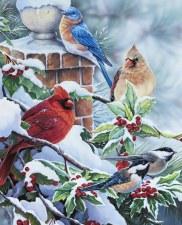 Christmas & Winter Fabric Panel- Songbirds & Holly