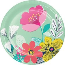 """Modern Floral Paper Plates, 7""""- 8ct"""