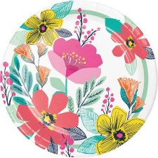 """Modern Floral Paper Plates, 9""""- 8ct"""