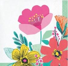 """Modern Floral Napkins, 5""""- 16ct"""