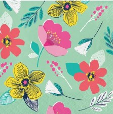 """Modern Floral Napkins, 6.5""""- 16ct"""