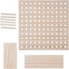 Wooden Pegboard Kit, 9pc- Square