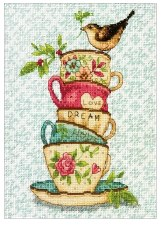 """Dimensions Cross Stitch Kit, 7""""x5""""- Stacked Tea Cups"""