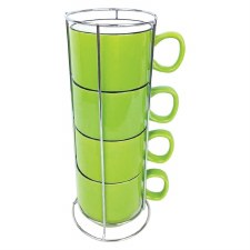 Stacking Cups w/ Rack- Green