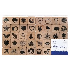 Wood Block Stamp Set, 40ct- All Occasions