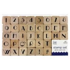 Wood Block Stamp Set, 40ct- Gatsby Uppercase Alphabet