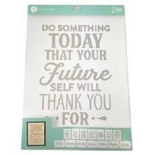 "Mix the Media Stencil Pack, 14ct- 12""x16"" Phrases"