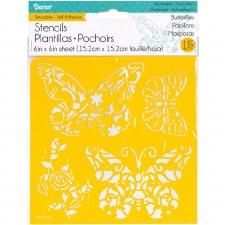 Reusable Adhesive 6x6 Stencil- Butterflies