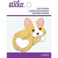 Sticko Fuzzy Sticker- Fat Corgi