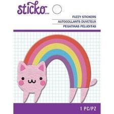 Sticko Fuzzy Sticker- Rainbow Cat