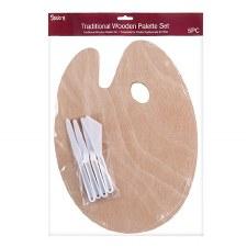 Studio 71 Wooden Paint Palette & Knives Set