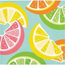 """Summer Citrus Napkins, 5""""- 16ct"""