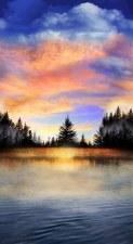 Nature & Wildlife Fabric Panel- Sunset Lake
