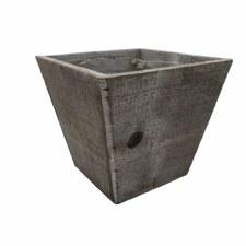 "Wood Tapered Vase, 6""- Gray"