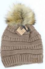 CC Knit Beanie w/ Fur Pom- Taupe