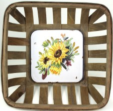 Gather by Nicole Decor Basket- Yellow Sunflowers
