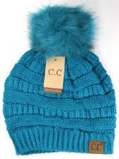 CC Knit Beanie w/ Pom- Teal