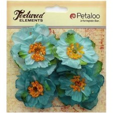 Botanica Ruffled Peony Embellishments- Teal