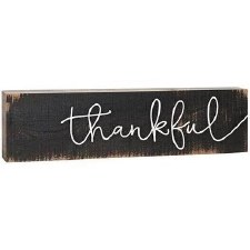 Skinny & Small Wood Sign- Thankful