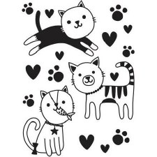 Darice Embossing Folder- Three Cute Kitties