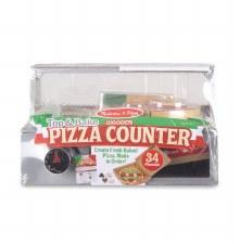 Melissa & Doug Food/Kitchen Play Set- Wooden Pizza Counter