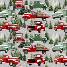 Christmas and Winter Fabric - Tradition Continue- Packed Trucks