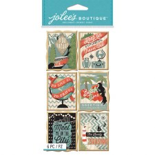 Jolee's Travel Dimensional Stickers, Large- Travel Posters