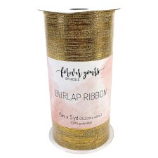 "6"" Burlap Ribbon Tulle Roll, 5 yards- Gold"