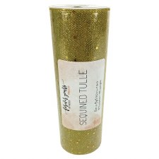 """6"""" Sequined Tulle Roll, 8 yards- Gold"""