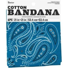 "Cotton Bandana 21""x21""- Paisley Turquoise"