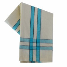 "Two Striped Cream 20""x28"" Tea Towel- Turquoise with Black"
