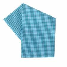 "Mini Check 20""x28"" Tea Towel- White & Turquoise"