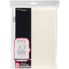 Core'dinations A7 Cards & Envelopes, 50pk- Ivory