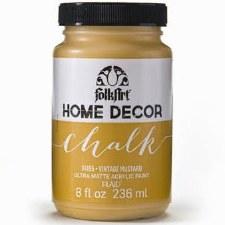 FolkArt Home Decor Chalk Paint 8 oz- Vintage Mustard