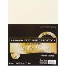 """8.5x11"""" Premium Cardstock, 40ct- Vanilla Cream Textured"""
