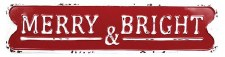 Metal Christmas Sign- Merry & Bright