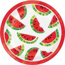 "Juicy Watermelon Paper Plates, 7""- 8ct"