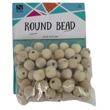 "Wood Beads, 1/2""- 70ct"