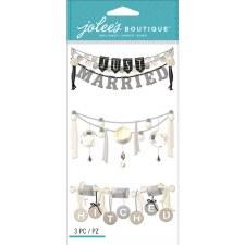 Jolee's Wedding Dimensional Stickers, Large- Wedding Words Garlands