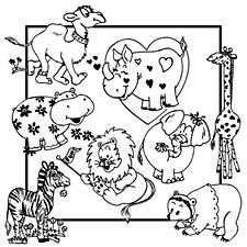 Aunt Martha's Iron On Transfers- Whimiscal Animals #3891