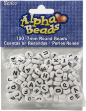Alpha Beads- White & Black Round Letters, 7mm