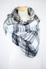 Blanket Scarf- White, Black, & Gray Plaid
